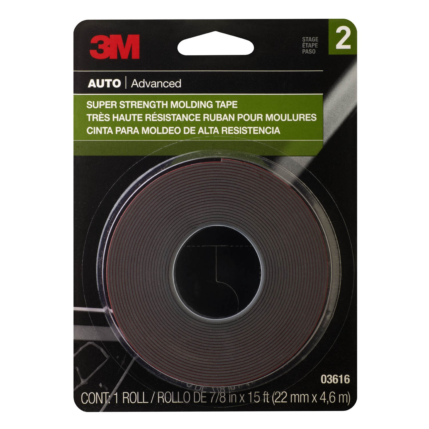 3m super strength molding tape 03616 7 8 in x 15 ft. Black Bedroom Furniture Sets. Home Design Ideas